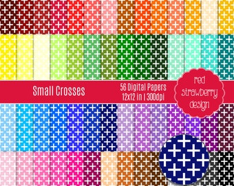 75% OFF Sale - 56 Digital Papers - Small Crosses - Instant Download - JPG 12x12 (DP287)
