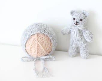 Newborn bear - Newborn props - Photo prop bear - Newborn set - Photo prop boy - Newborn beat hat - photography prop - Gray - Baby boy props