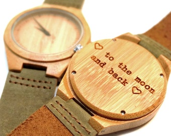 Bamboo Watch with Khaki Leather strap - engraved with personal text - Gift for Him/Her, Anniversary, Wedding gift, birthday gift