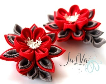 Kanzashi  Fabric Flowers. Set of 2 hair clips. Red and grey.