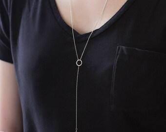 Silver Long Y Necklace, Y Lariat Necklace, Silver Y Necklace, Lariat Necklace Silver, Layered Necklace, Silver Minimal Necklace, N376