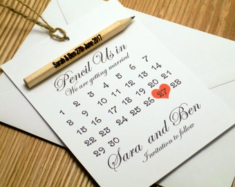 Pencil us in Calendar style save the date, with engraved pencil