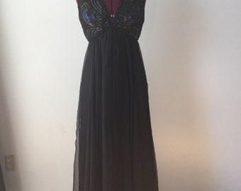 Beaded V-Neck bodice Chiffon Maxi Dress