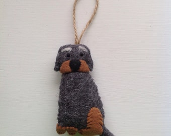 Hanging scruffy dog decoration