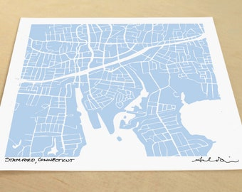 Stamford Map, Hand-Drawn Map Print of Stamford, Connecticut
