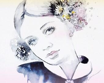 Fashion Illustration - Art Print from Watercolor Painting - Watercolor Fashion Portrait - Modern Home decor - wall art - Fashion Art