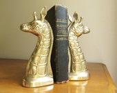 Vintage Brass Giraffe Bookends, Gold Giraffe Book Ends, African Animal, Pair of Giraffes