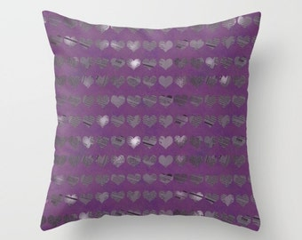 Pillow Cover - Cover Only - Purple Newspaper Hearts - Sofa Pillow Cover - Throw Pillow - Made to Order