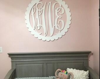 """30"""" Painted Wooden Monogram - Wooden Letters - Letter Monogram- Scalloped Border - nursery decor for girl, home decor or wedding decor"""