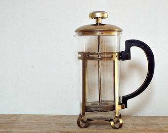 ITALIAN GLASS COFFEEMAKER - vintage espresso coffee press machine, espresso maker, coffee lovers, coffee grinder moka, made in Italy
