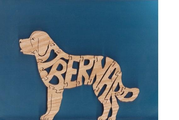 St Bernard Red Oak Toy Puzzle Cut On Scroll Saw