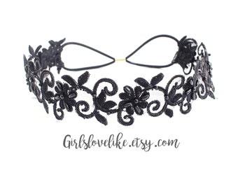 Black Beaded Lace Elastic Headband, Bridal Elastic Headband, Bridesmaid Headband, Elastic boho headband, Elastic Headband