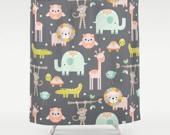 Safari Animals Shower Curtain Jungle Shower Kids Shower Curtain Childrens Shower Curtain