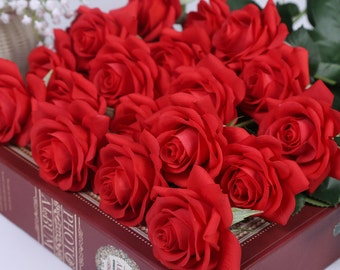 Red Flowers Real Touch Red Roses For Wedding Centerpieces 10 Latex Flowers Wedding Floral Decoration Bridal Bridesmaids Bouquet ZHH-GSG-A