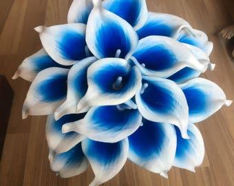 Picasso Blue Calla Lilies Royal Blue Calla Lily Bouquet 10 Stems PU Flowers For Bridal Bridesmaids Wedding Centerpieces Corsage DIY Flowers