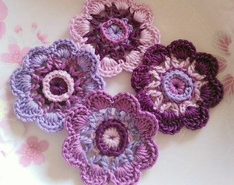 4 Crochet  Flowers In 2 inches  Applies YH - 232-01
