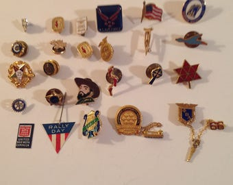 Lot of 24 Service Lapel Pins, Fraternal Organization and Christian Interest Pins