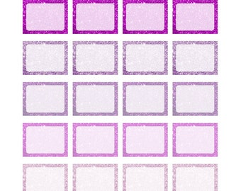Purple Glitter Half boxes Printable Planner Stickers for Erin Condren, Happy Planner, Recollections