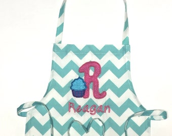 Personalized Apron - Child's Apron - Art Apron - Cooking Apron - Cupcake Embroidery Letter - Embroidery Apron