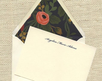 Personalized Notecards with Lined Envelopes, Personalized Stationery, Rifle Paper Co linings