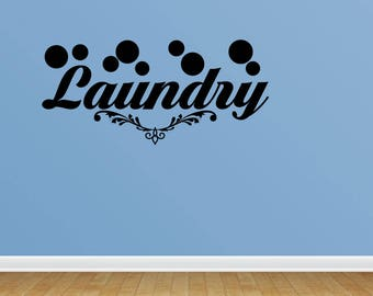 Wall Decal Laundry Laundry Room Decor Wall Art Vinyl Lettering Vinyl Wall Sticker Decals (PC302)