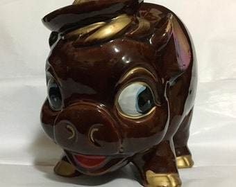 Vintage Brown Drip Glaze Pottery Pig made of Red Clay with Heavy Glaze  (LDT5)
