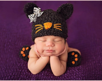 Baby Girl Hat KITTY LUV Newborn Baby Girl Crochet Cat Hat and Skirt Paws Booties Hat Slippers Gray and Black available HALLOWEEN costume