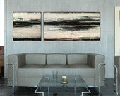 Black, White, Abstract Painting,Acrylic Painting, Contemporary Art,72x24x0,75  by M.Schöneberg