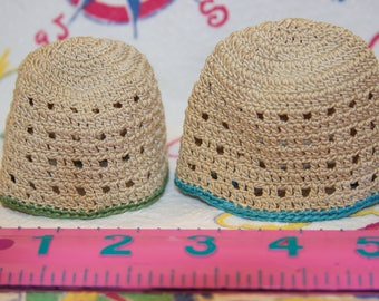 Two vintage cute crocheted doll beanies or egg cozies in great condition