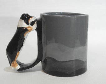 Rough Collie Mug Tricolor Shetland Sheepdog Mug Herding Dog Handle Cup Sheltie