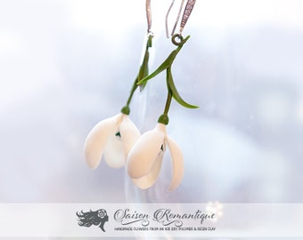 Earrings Snowdrops - Polymer Clay Flowers - Mothers Day Gift for Women Earrings White Gift For Her Flower Snowdrop