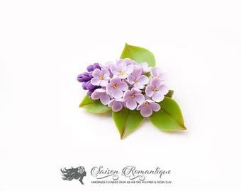 Brooch Lilac Syringa - Polymer Clay Flowers