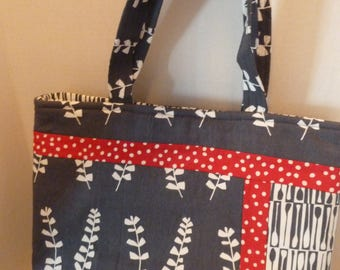 Gray/Red Tote Bag