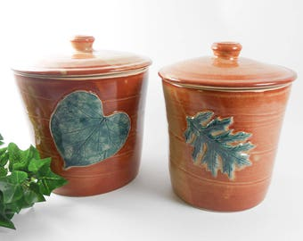 Pottery canister set - leaf canister set - kitchen canisters - storage jar set - ceramic canister set - brown canisters J82