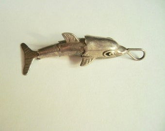 articulated dolphin pendant in sterling