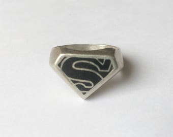 vintage and sterling and enamel superman ring, size 9.75
