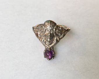 vintage art nouveau woman with amethyst ring in sterling, size 5