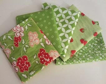 Moda Hello Darling Green Fat Quarter Bundle - 5 FQs (1.25 yards total)