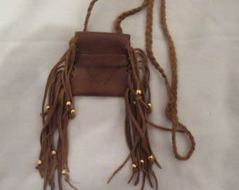 Handmade Small Fringed Brown Leather Neck Pouch Medicine Bag Braided Strap