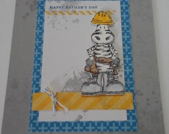 Father's  Day, Construction Zebra card