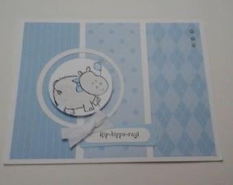 Blue Hippo baby card