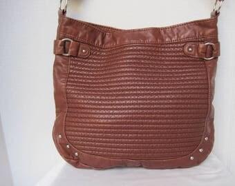 Shoulder Bag Brown Bag Adjustable Strap Quilting and Studs