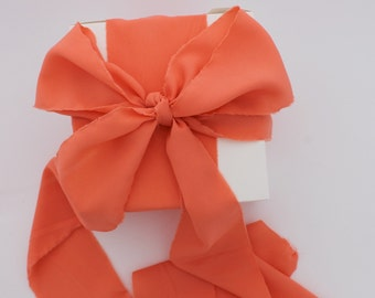 """Coral Ribbon. 3"""" Wide Luxury Ribbon. Hand Torn and Frayed Crepe De Chine Ribbon Bundle. 3 Meter Lengths. Wedding Bouquet Ribbons. Gift Wrap"""