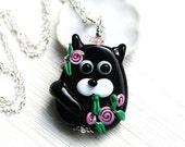 50%off SALE Black Cat Pendant, Pink flowers, Black Kitten, Cat Jewelry, Lampwork glass Cat, Adoptable, Cat lover gift, Pet Adoption, Cat lad