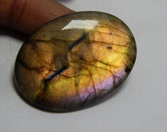 Labradorite Gemstone Loose Cabochon Oval Shape Very Rare Yellow & Perpal Power Flash On Wholesale Price Gemstone Supplies.