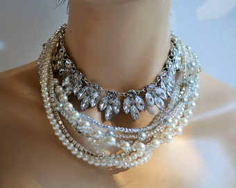 Bridal Jewelry,Wedding Pearl Necklace, Rhinestone Brides, Ivory, Handmade Pearl Necklace, Wedding Jewelry,chunky pearl necklace