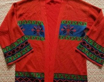 Vivid Orange 70's Cardigan