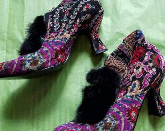 Tapestry and Fur Booties