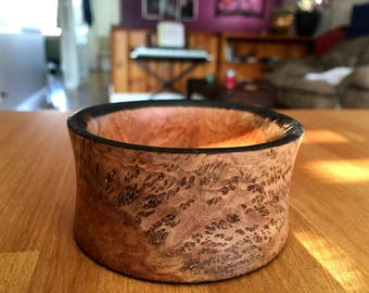 Exotic Wood Bangle Bracelet - Coolibah Burl with Burnt Edges