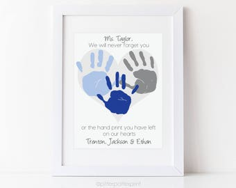 Printable Daycare Gift, Nanny Gift, Teacher Gift, Babysitter Gift, Personalized Handprint Art, Your Child's Hands, Print from Home PDF File